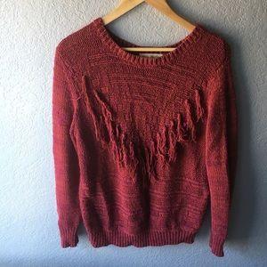 Staring At Stars tasseled sweater - maroon - med